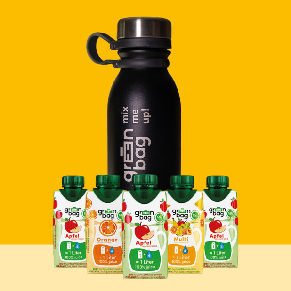 Green-Bag Bio Fruchtsaftkonzentrat Trinkflasche Edelstahl Kombipack
